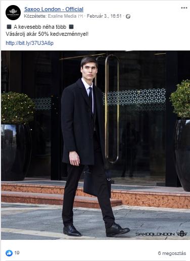 Sikeres Facebook poszt a Saxoo London Facebook oldaláról az Exaline Media tolmácsolásában.