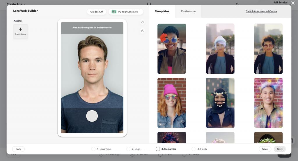 A Snapchat AR készítő Lens Web Builder felülete belülről. Könnyen létrehozhatunk kiterjesztett valóságot.