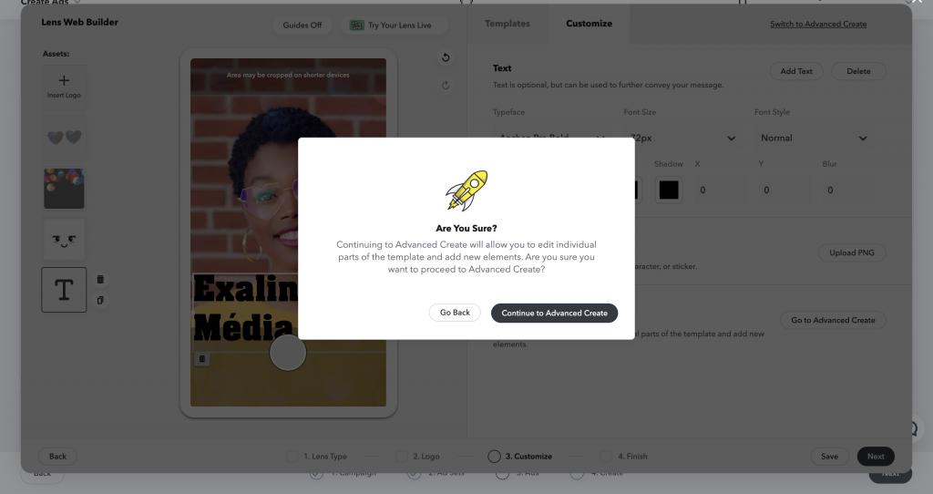 Ha szeretnénk egyedibbek lenni, lehetőségünk van haladó funkciókhoz is a Snapchat Lens Web Builder felületen.