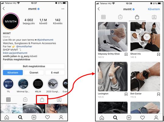 Instagram Shop termékek megjelenítése