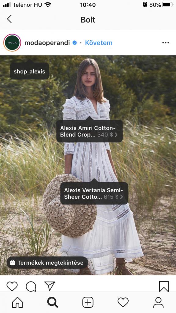 Most már, amikor készítesz egy Instagram post-ot, akkor be tudod tagelni a termékeket ugyan úgy mintha embereket tagelnél.