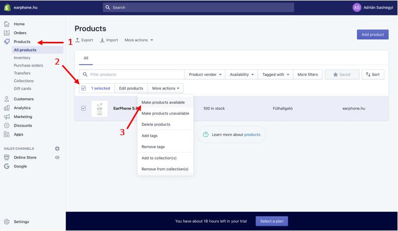 A Shopify és a Facebook Shop összekapcsolás lépései