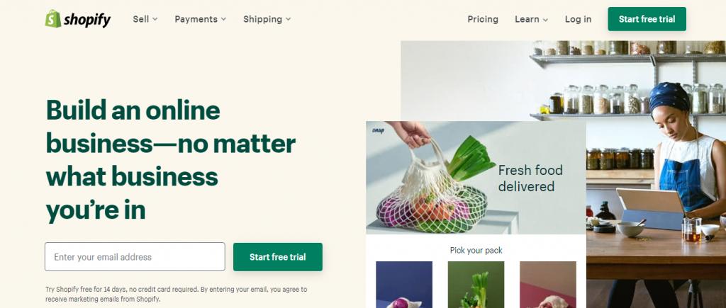 Shopify nyitóoldal